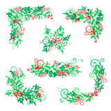 Vector set of holly berries design elements. Stock Photo