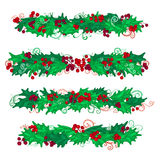 Vector set of holly berries design elements. Royalty Free Stock Image