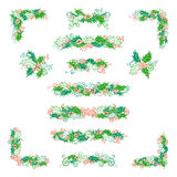 Vector set of holly berries design elements  on white background. Royalty Free Stock Image