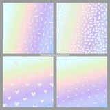 Vector set of holographic backgrounds. Imitation of a holographic surface Stock Image