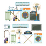 Vector set of home electronics objects isolated on white background. House appliances icons. Royalty Free Stock Photo