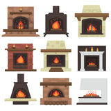 Vector set of home fireplaces. Vector set of home fireplaces with fire. Different fireplaces wood burning and electric, coal and gas, bio-fuel stove. Flat icon Stock Photos