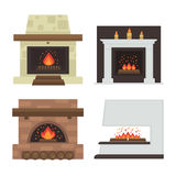 Vector set of home fireplaces with fire. Different fireplaces wood burning and electric, coal and gas, bio-fuel stove. Flat icon design. Illustration isolated Royalty Free Stock Image