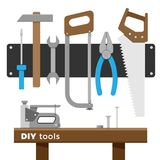 Vector tool set. Vector set of home repair tools. Illustration of DIY hand tools for construction or renovation. Flat style, isolated on white background Royalty Free Stock Photos