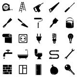 Vector Set of Home Repairing, Building, Construction and Decoration Icons Royalty Free Stock Images