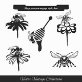 Vector set for honey sketches stock photos