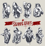 Vector set of hoody gangsters. Grungy style. All elements are groupped and layered Stock Photos