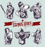 Vector set of hoody gangsters. Grungy style. All elements are groupped and layered Royalty Free Stock Photo
