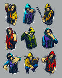 Hoody gangsters. Vector set of hoody gangsters Royalty Free Stock Images