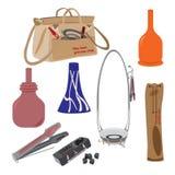 Vector set of hookah accessories Stock Images