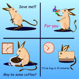 Vector set of hopping mouse in different moods Stock Photos