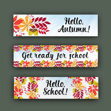 Vector set horizontal banners with autumn leaves and berries. Stock Photo