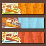 Vector set horizontal banners for Autumn season Royalty Free Stock Photos