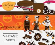 Vector set with horizontal banners dedicated to vintage, retro and steampunk antique. Goggles and dirigible, lovely characters Stock Images