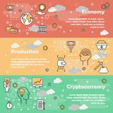 Cryptocurrency concept vector flat line art banner set. Vector set of horizontal banners with Economy, Production and Cryptocurrency line art flat style design Stock Images