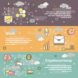 Initial coin offering concept vector flat line art banner set. Vector set of horizontal banners with ICO, Work and Cryptocurrency line art flat style design Stock Photography