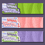 Vector set horizontal banners for spring season Stock Photo