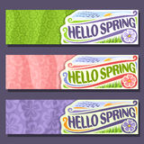 Vector set horizontal banners for Spring season. 3 layouts with floral background, Flowers templates with title text - hello spring, springtime flyers with Stock Image