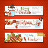 Vector set of horizontal Christmas banners with cute snowmen. Cartoon snowman and gift boxes, firework, Christmas sock, swirls, snowflakes and stars. Snowman is Royalty Free Stock Photos