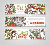 Vector set of horizontal Christmas banners. Stock Photography