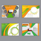 Vector set of horizontal flyers for design. Editable A4 poster for business, magazine cover. Green and orange color Stock Images
