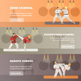 Vector set of horizontal martial arts concept banners, flat style Stock Image