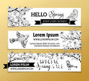 Vector set of horizontal spring banners. Royalty Free Stock Image