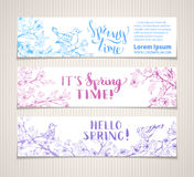 Vector set of horizontal spring banners. Stock Image