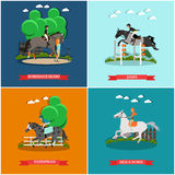 Vector set of horse concept posters in flat style Royalty Free Stock Photo