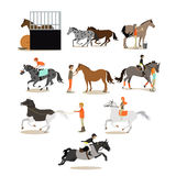 Vector set of horse riding people icons in flat style Royalty Free Stock Image
