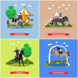 Vector set of horseback riding, show jumping, taming horses concepts Stock Photography