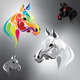 Vector set of horses in different colors. On a gray background Stock Photos