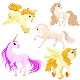 Vector set of horses in motion. vector illustration
