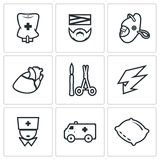 Vector Set of Hospital Icons. Drip, Patient, Mask, Heart, Scalpel and Scissors, Electric Discharge, Nurse, Ambulance Stock Image