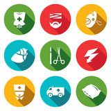 Vector Set of Hospital Icons. Drip, Patient, Mask, Heart, Scalpel and Scissors, Electric Discharge, Nurse, Ambulance Royalty Free Stock Photography