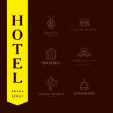 Vector set of hotel and resort logo design. Royalty Free Stock Photography