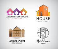 Vector set of house logos, hotel, apartment, real estate, building icons. Various styles Stock Photos