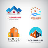 Vector set of house logos. Real estate icons, buildings, property Stock Photos