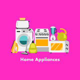 Vector set of household appliances design flat icons Royalty Free Stock Images