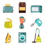 Vector set of household appliances design flat icons Stock Image