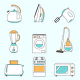 Vector set of household appliances design flat icons Royalty Free Stock Image
