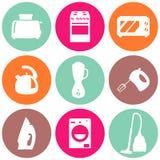 Vector set of household appliances design flat icons Stock Photos