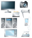 Set of household electronic elements Royalty Free Stock Photography
