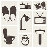 Vector set of household items design flat icons. Vector collection of household items design flat icons Stock Photo