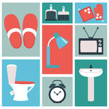 Vector set of household items design flat icons. Vector collection of household items design flat icons Royalty Free Stock Images