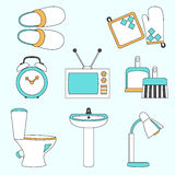 Vector set of household items design flat icons. Vector collection of household items design flat icons Royalty Free Stock Photo
