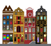Vector set of houses in the Dutch style. Different color and sha Royalty Free Stock Photos