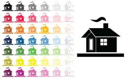Houses vector set in multiple colors. Vector set with houses in multiple colors and shades Stock Photos