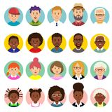 Set of human faces, avatars, people heads different nationality and ages in flat style royalty free illustration