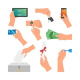 Vector set of human hands holding money, credit card, phone and key. Design elements, icons  on white background Stock Photo